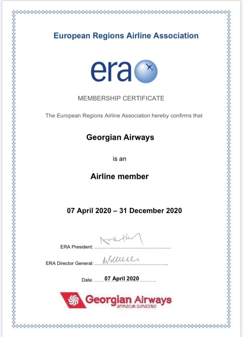 Georgian Airways became part of a strong association in the Aviation industry, called ERA.